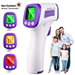 Digital Forehead Thermometer, ZHULERY Non-Contact Infrared Thermometer with Fever Alert Function, with Backlight LCD for Easy Reading, High Accuracy Measure Within 1 Second, FDA and CE Approved.