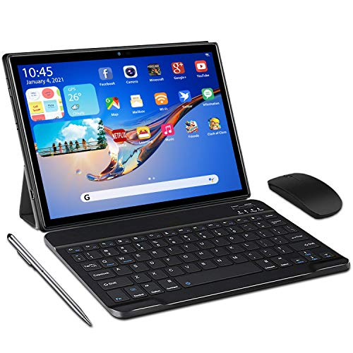 Tablet 10 Pulgadas 5G Android 10 Tableta Ultra-Portátiles 4GB RAM + 64/128GB ROM, Con1.6GHz Core Procesador Núcleos Dual WiFi, Bluetooth con Teclado y Ratón, Certificado Google GMS/OTG/Tpye-C (Negro)