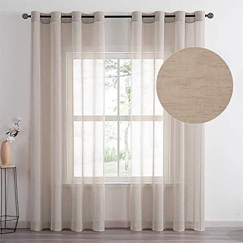 Topfinel Voile Gardine Ösenvorhang in Leinen-Optik Transparent Vorhänge Dekorativ für Zimmer Fensterschals Kinderzimmer 2er Set Khaki 140/200cm (BxH)