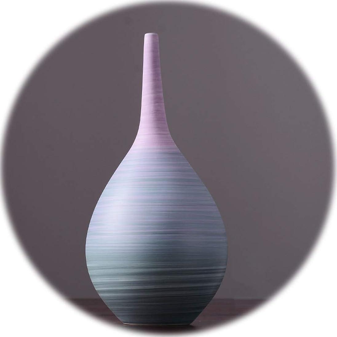 基本的な着る受動的陶磁器の花瓶 XJJUN 陶製の花瓶 フローラ花瓶ホームデコレーション装飾品北欧スタイル手作りリビングルームベッドルーム理想的なギフト、3サイズ (Color : A, Size : 17X35CM)