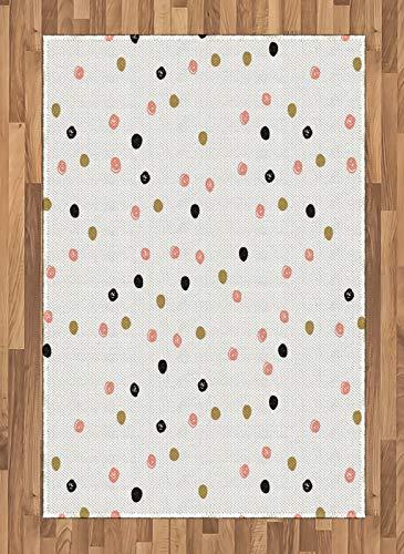 ABAKUHAUS Pink Dots Polka Tapis Tissé à Plat, Main gribouillé Drawn, Salle de Séjour Chambre à Coucher Salle à Manger, 120 x 180 cm, Fard à Joues Gris Anthracite