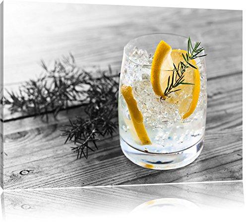 Drink garniert mit Zitrone und Rosmarin schwarz/weiß Format: 120x80 auf Leinwand, XXL riesige Bilder fertig gerahmt mit Keilrahmen, Kunstdruck auf Wandbild mit Rahmen, günstiger als Gemälde oder Ölbild, kein Poster oder Plakat