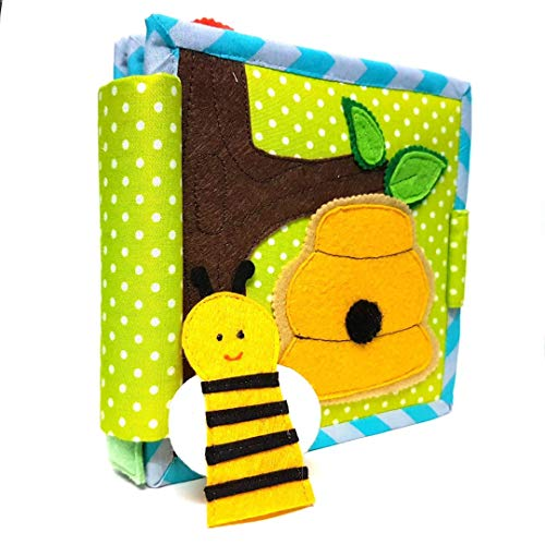 Chubbycheeks- Bee Amazing Daily Activity Soft Cloth Mini Quiet Book for Toddler, Infants and Kids ( 15*15 cms)