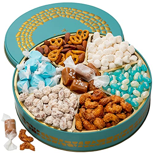Bonnie and Pop Snack Box Variety Tray, Nuts and Candy Gift Basket - Prime Food Arrangement, - Birthday, Holiday Treat Assortment for Women, Men, Adults, Final Exam Office