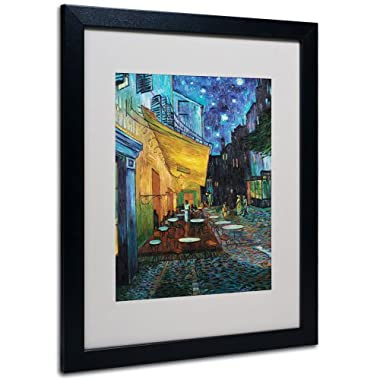 Vincent Van Gogh Cafe Terrace Framed Matted Canvas Art, 16 by 20-Inch, Black