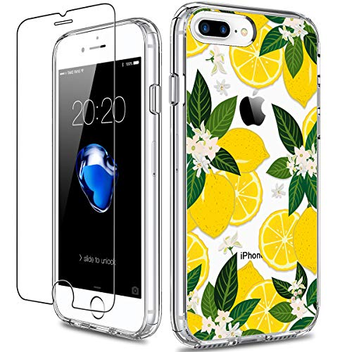 GiiKa iPhone 8 Plus Case, iPhone 7 Plus Case with Screen Protector, Clear Heavy Duty Protective Case Floral Girls Women Hard PC Case with TPU Bumper Cover Phone Case for iPhone 7 Plus, Yellow Lemons