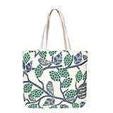 EONO Große Leinwand-Tasche Baumwolle Einkaufstüten wiederverwendbare Umweltfreundliche Einkaufstasche für Frauen mit Reißverschluss - Printed Sparrows - (Natürlich)   0201G02