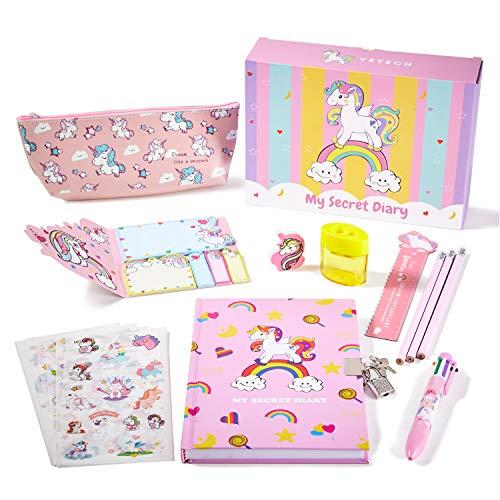 Yetech Set de papelería Unicornio-Cuaderno con Cerradura de Unicornio Regalo de cumpleaños de Navidad para niñas Edades 4 5 6 7 8 9 10 11