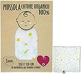 Baby-Musselin aus weicher und organischer Baumwolle für Kinder und Babys. Ideal als Handtuch, Bettlaken für Kinderbetten. 100 % antiallergisch, 120 x 120 cm. Geschenkverpackung (Einhörner)