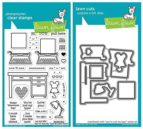 Lawn Fawn You're Just My Type 4'x6' Clear Stamp and Coordinating Custom Die Set, 2 Item Bundle (LF2165, LF2166)