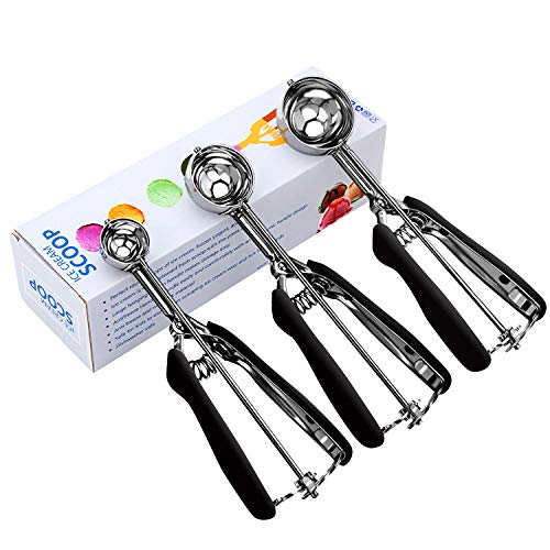Cookie Scoop Set Cookie Scoops for Baking Set of 3 Ice Cream Scoop 18/8 Stainless Steel with Anti Slip Rubber Grip Cookie Dough Scooper with Trigger Release