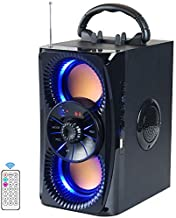 Bluetooth Speakers, Portable Wireless Speaker with Lights, Double Subwoofer Heavy Bass, FM Radio, SD Player, Remote, Suitable for Travel, Indoors and Outdoors