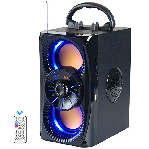 Bluetooth Speaker, Portable Wireless Speakers with Lights, 2 Double Subwoofer Heavy Bass, 2 Loud Speaker, FM Radio, SD Player, Remote, Suitable for Travel, Indoor and Outdoor
