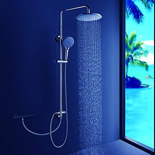 DUTRIX Duschsystem Regendusche ohne Wasserhahn Dusche für Wandmontage Duschsäule Duschset, mit eckig Kopfbrause und Handbrause, Verstellbare Duschstange für Badezimmer, Chrome
