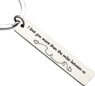 Couples Long Distance Relationship Gift Women Men Love Keychain Going Away Present Engraved Stainless Steel Boyfriend Girlfriend Key Ring Jewelry Birthday Valentine Gift