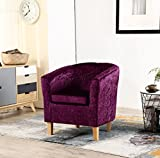 WestWood Modern Crush Velvet Fabric Tub Chair Armchair Lounge Dining Living Office Room Home Furniture TC12 Purple New
