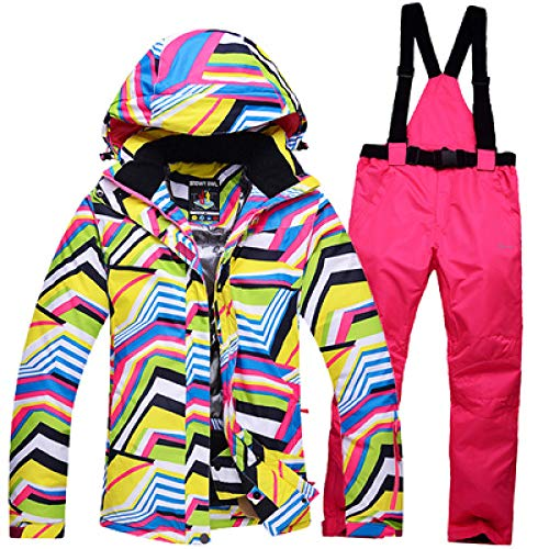 JSGJHXFNew Skipak voor dames, outdoor, sport, snowboard, skipak, winddicht, waterdicht, superwarm, dik thermisch pak, warm