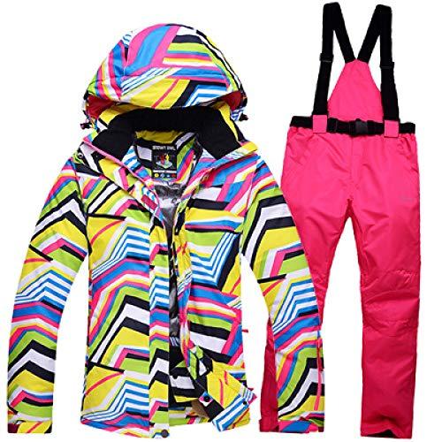 JSGJHXFNew Skipak voor dames, outdoor, sport, snowboard, skipak, winddicht, waterdicht, superwarm, dik thermisch pak, warm