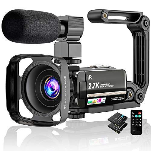"""Videocámara Digital 2.7K UHD 36MP Vlogging Camera para Youtube IR Night Vision 3.0""""Pantalla táctil LCD 16X Zoom Digital Cámara Grabadora con micrófono Estabilizador de Mano Control Remoto, 2 baterías"""