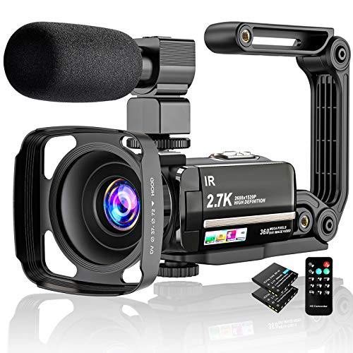 Video Camera 2.7K Camcorder Ultra HD 36MP Vlogging Camera for YouTube IR Night Vision...
