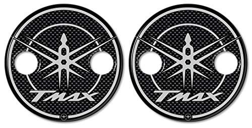 2 Pegatinas en Carter de Resina 3D Scooter Compatible con Yamaha TMAX de 2001 a 2016 Carbon Silver