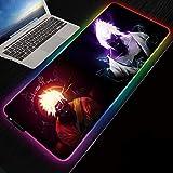 RGB Gaming Mouse Pad | Large LED Anime Mousepad | Naruto and Sasuke Art Soft | 300 x 800 mm Size | Oversized Thick Light Up Mouse Pad | XXL Keyboard and Mouse Pad Giant Desk Mat Rainbow Lightspeed