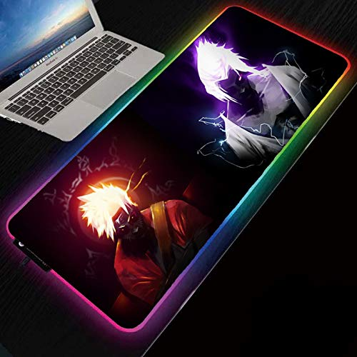 RGB Gaming Mouse Pad | Large LED Anime Mousepad | Naruto and Sasuke Art Soft | 300 x 800 mm Size | Oversized Thick Light Up Mouse Pad | XXL Keyboard and Mouse Pad Giant Desk Mat Rainbow Lightspeed