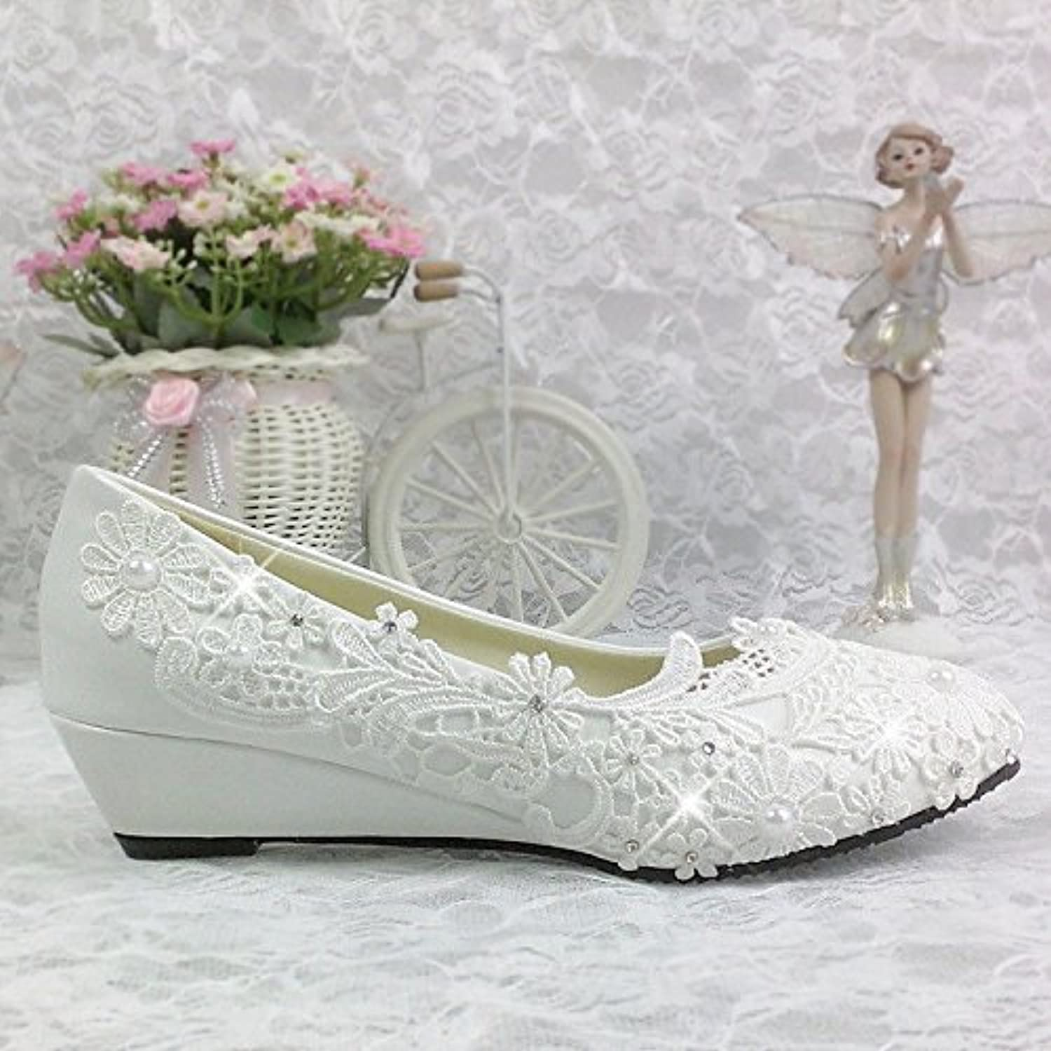 JINGXINSTORE Strasssteinen Bridal Pumpe Lace Weiß Wedding schuhe Wedding Party Pumps