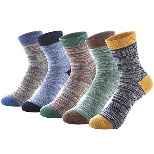 SUNBVE 5 Pack Little Big Boy Breathable Adorable Cotton Crew Socks