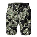 Money Raining Down Shorts Casuales de Verano para Hombres Ropa de Playa Deportes Natación Shorts Shorts de Secado rápido