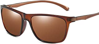 LUKEEXIN Retro Style Full Rimmed Durable Men's Polarized Sunglasses UV400 Protection Driving Cycling Running Fishing Golf (Color : Brown)