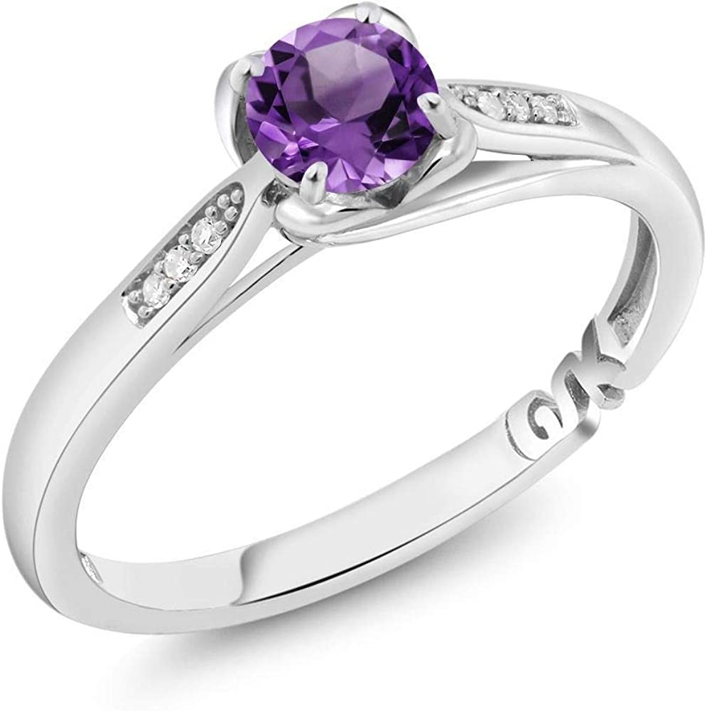 Gem Stone King 10K White Gold Purple Amethyst and Diamond Women Engagement Ring (0.49 Ct Round, Available 5,6,7,8,9)