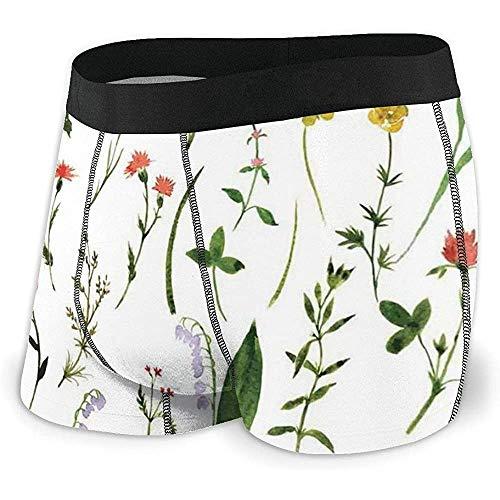 Herren Boxer Slips, Set mit verschiedenen Arten von Blumen und Kräutern Unkraut...