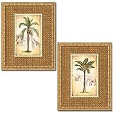 Gango Home Decor Set of 2 Tropical Palm Tree Prints Elephant Giraffe 16 x 20