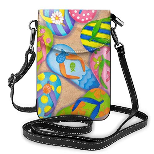 HTDG Handy Geldbörse Crossbody Lustige Flip Flops Hausschuhe Kunst Sandalen Frauen Pu Leder Mode Handtasche Mit verstellbarem Riemen