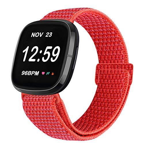 Vodtian Correa ajustable de nailon, compatible con Fitbit Versa 3/Fitbit Sense, correa de repuesto para reloj deportivo para hombre y mujer (rojo)
