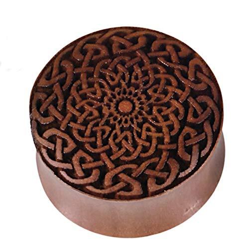 CHICNET Damen Herren Plug Flesh Tunnel Ohr Piercing Dehner aus Sawoholz Holz in rotbraun, Lasergravur geflochten Knotenmuster, Double Flared, 4mm bis 30mm