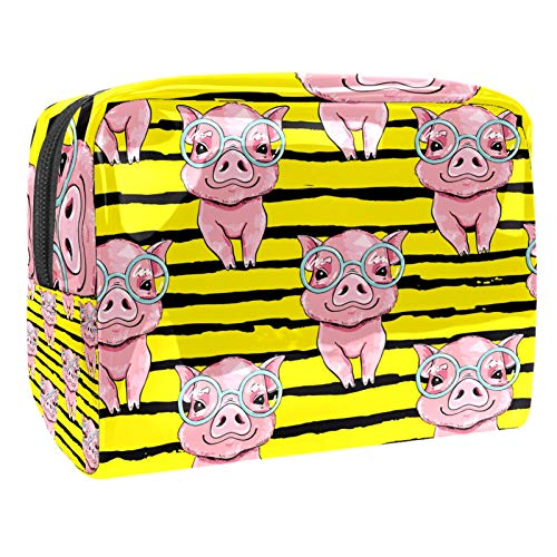 Neceser de Maquillaje Estuche Escolar para Cosméticos Bolsa de Aseo Grande Cerdos Rosados con Gafas Amarillo Raya Negra