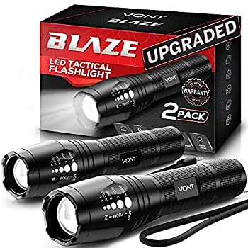Vont LED Tactical Flashlight [2 Pack] 2X Longer Battery Life 5 Modes High Lumen Adjustable Zoomable,Waterproof Lightweight,Bright Flashlights/Flash Light Gear/Accessories/Supplies for Camping
