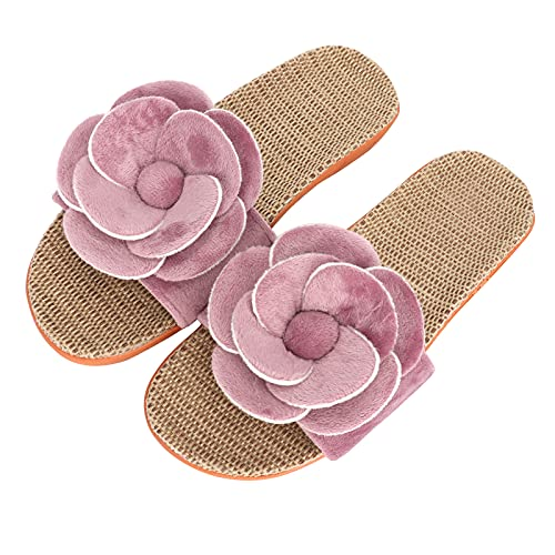 HuaLiSiJi Zapatillas florales Zapatillas de lino para mujer Zapatillas de verano Zapatillas...