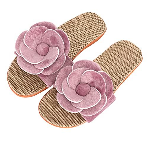 HuaLiSiJi Pantoufles d'été en lin,Sandales Plates Femmes, La semelle est confortable et la Sandale est jolie Adaptées aux femmes de tout âge (Rose 39-40)
