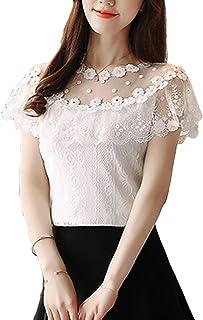 SansoiSan O-Neck Hollow Out Ruffles Short Sleeve Women Lace Tees Blouse Flower Sweet T-Shirt Tops for Women