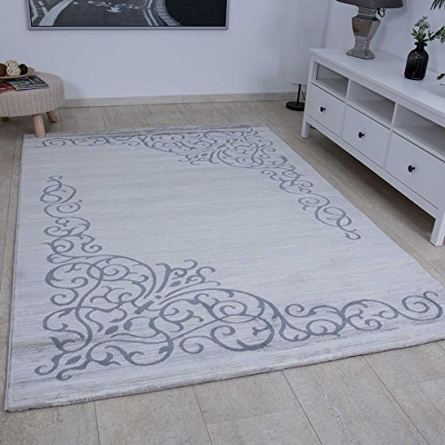 VIMODA Eleganter Teppich in Grau Silber Kunstvolle Ornamente, Maße:120x170 cm