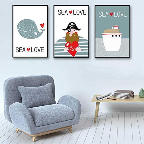 YSNMM Einfacher Stil Cartoon Whale Pirate Ship Inspirierend Poster Kunstdruck Leinwand Wand Meer Liebe Malerei Kind No Framed