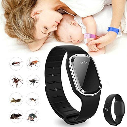 HJHY@ Ultrasonic Anti Mosquito Insect Pest,Electronic Reusable Mosquito Repeller Wristband,Non-Toxic Waterproof with USB Rechagerable for Kids and Adults Outdoor Camping Indoor SleepingBlack