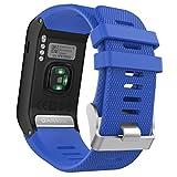 MoKo Garmin Vivoactive HR Correa de Reloj, Suave Silicona Reemplazo Watch Band para Garmin Vivoactive HR Deporte GPS Smart Watch con Pins y Herramientas Adaptador - Azul Real