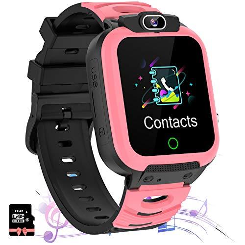 Jaybest Smartwatch Niños - Relojes Inteligentes Teléfono Niños con SOS Música 7 Juegos Cámara Grabación de vídeo Calculadora Pantalla Táctil, Reloj Llamada Niños Regalos para 4-12 Años (Rosa Oscuro)
