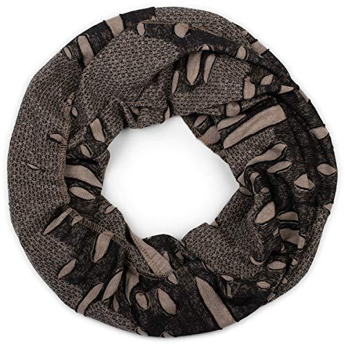 styleBREAKER Loop Schal im Destroyed Vintage used Look mit Rissen, Schlauchschal, Tuch, Unisex 01018078, Farbe:Schwarz-Beige, Größe:Breit