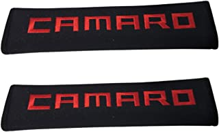 Tangpot 2pcs Car Accessories Red Camaro Logo Car Seat Belt Cover Fit for Camaro Enthusiast