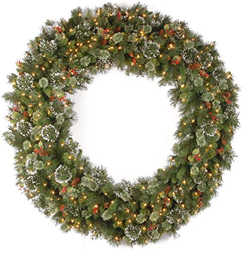 National Tree Company Pre-lit Artificial Christmas Wreath| Flocked with Mixed Decorations and Pre-strung White Lights | Wintry Pine - 60 inch